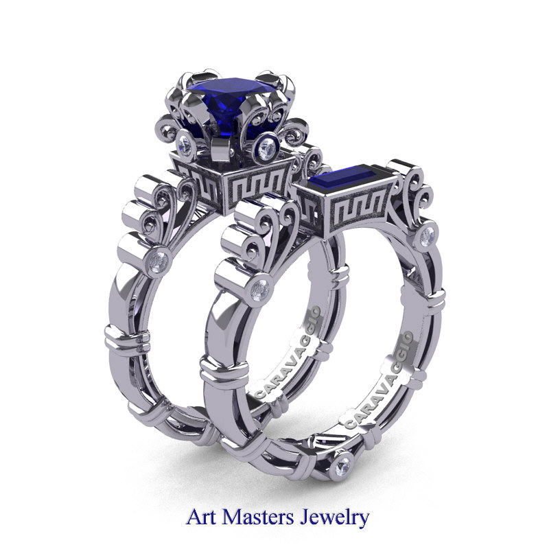 Art masters caravaggio 14k white gold 1 5 ct princess blue for Sapphire wedding ring sets