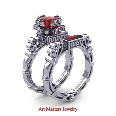Art Masters Caravaggio 14K White Gold 1.5 Ct Princess Ruby Diamond Engagement Ring Wedding Band Set R627S-14KWGDR
