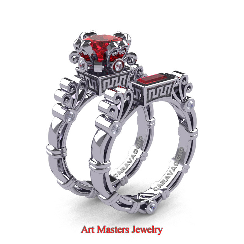Art Masters Caravaggio 14K White Gold 15 Ct Princess Ruby Diamond Engagement Ring Wedding Band Set