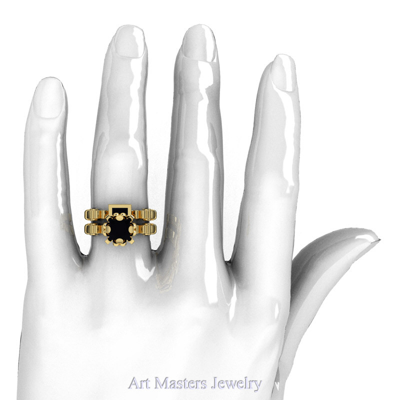 art masters caravaggio 14k yellow gold 15 ct princess black diamond engagement ring wedding band set - Engagement Ring And Wedding Band Set