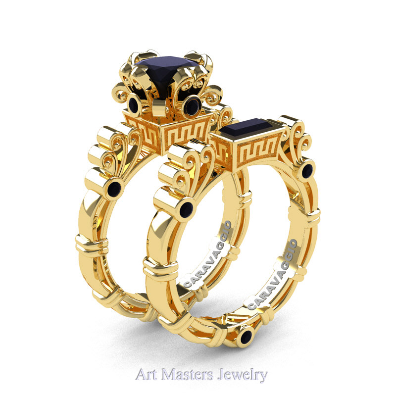 Art Masters Caravaggio 14k Yellow Gold 1 5 Ct Princess Black Diamond Engagement Ring Wedding Band Set