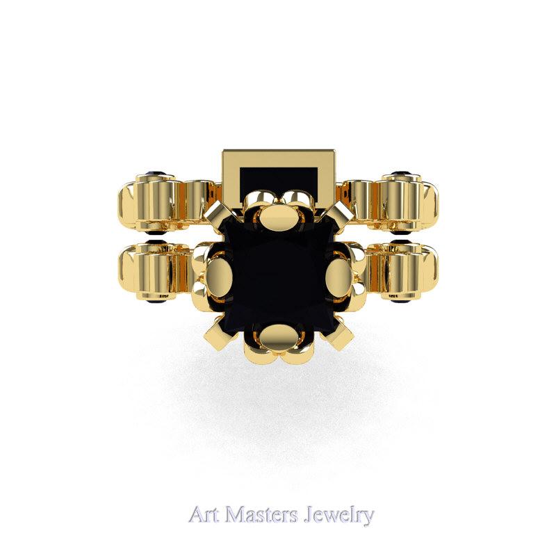 676acfb97 ... Art Masters Caravaggio 14K Yellow Gold 1.5 Ct Princess Black Diamond  Engagement Ring Wedding Band Set ...