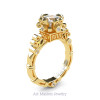 Art Masters Caravaggio 14K Yellow Gold 1.5 Ct Princess White Sapphire Diamond Engagement Ring R627-14KYGDWS