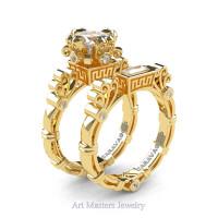 Art Masters Caravaggio 14K Yellow Gold 1.5 Ct Princess White Sapphire Diamond Engagement Ring Wedding Band Set R627S-14KYGDWS