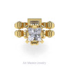 Art Masters Caravaggio 14K Yellow Gold 1.5 Ct Princess White Sapphire Diamond Engagement Ring Wedding Band Set R627S-14KYGDWS