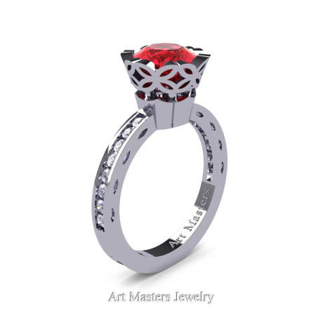 Classic Armenian 14K White Gold 1.0 Ct Rubies Diamond Solitaire Engagement Ring AR140-14KWGDR