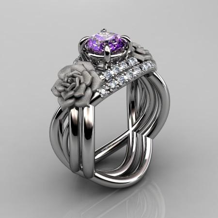 Nature Inspired 14K White Gold 1.0 Ct Amethyst Diamond Rose Vine Engagement Ring Wedding Band Set R294S-14KWGDAM