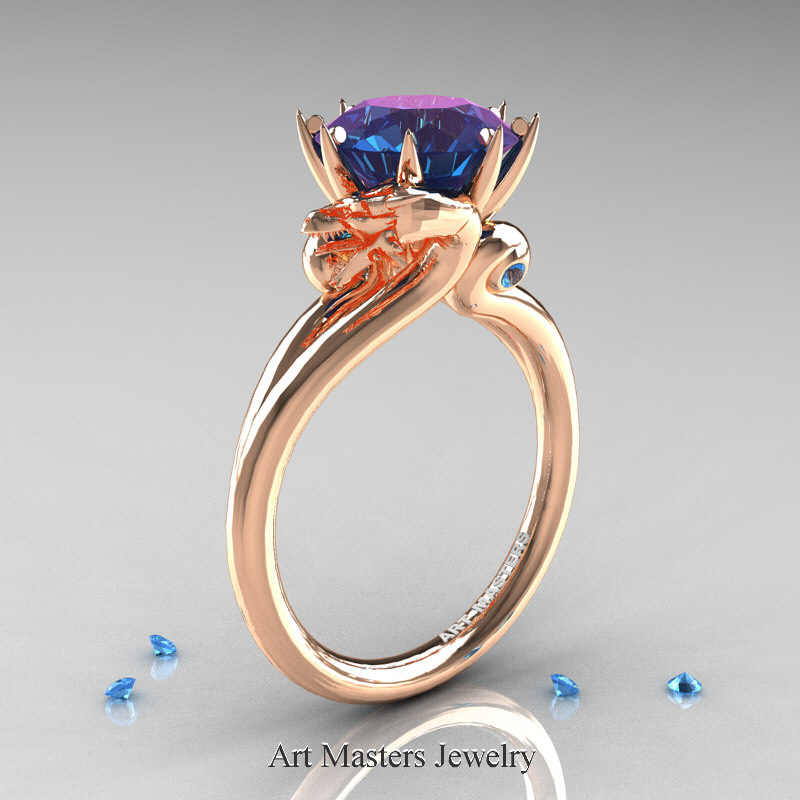 Art Masters 14K Rose Gold 30 Ct Chrysoberyl Alexandrite Blue Topaz Dragon Engagement Ring R601