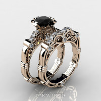 Art Masters Caravaggio 14K Rose Gold 1.0 Ct Black and White Diamond Engagement Ring Wedding Band Set R623S-14KRGDBD