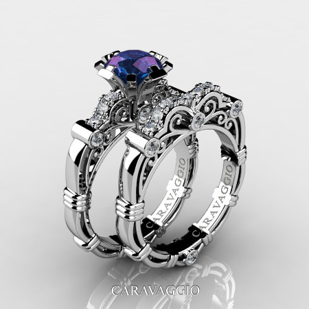 Art Masters Caravaggio 14K White Gold 1.0 Ct Alexandrite Diamond Engagement Ring Wedding Band Set R623S-14KWGDAL