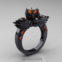 Art Masters Classic Winged Skull 14K Black Gold 1.0 Ct Orange Sapphire Solitaire Engagement Ring R613-14KBGOS