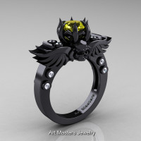 Art Masters Classic Winged Skull 14K Black Gold 1.0 Ct Yellow Sapphire Diamond Solitaire Engagement Ring R613-14KBGDYS