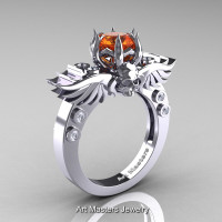 Art Masters Classic Winged Skull 14K White Gold 1.0 Ct Orange Sapphire Diamond Solitaire Engagement Ring R613-14KWGDOS