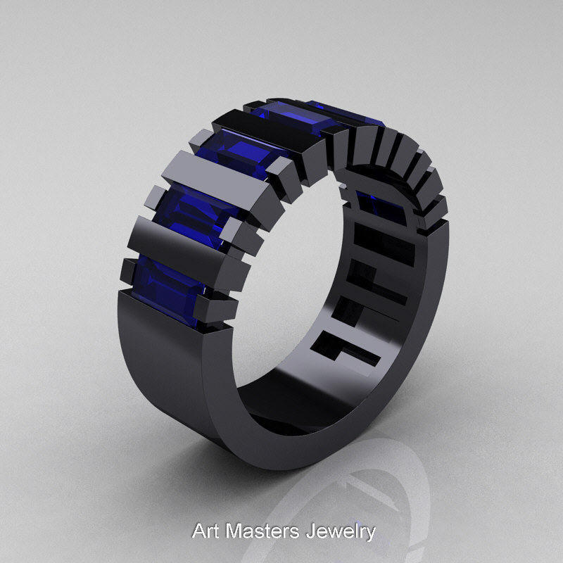 Mens Modern 14k Black Gold Baguette Blue Sapphire Cluster Tank Ring