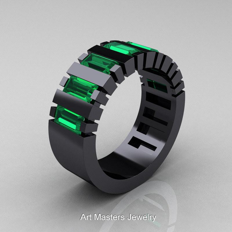 Mens Modern 14k Black Gold Baguette Emerald Cer Tank Ring R395 14kbgem