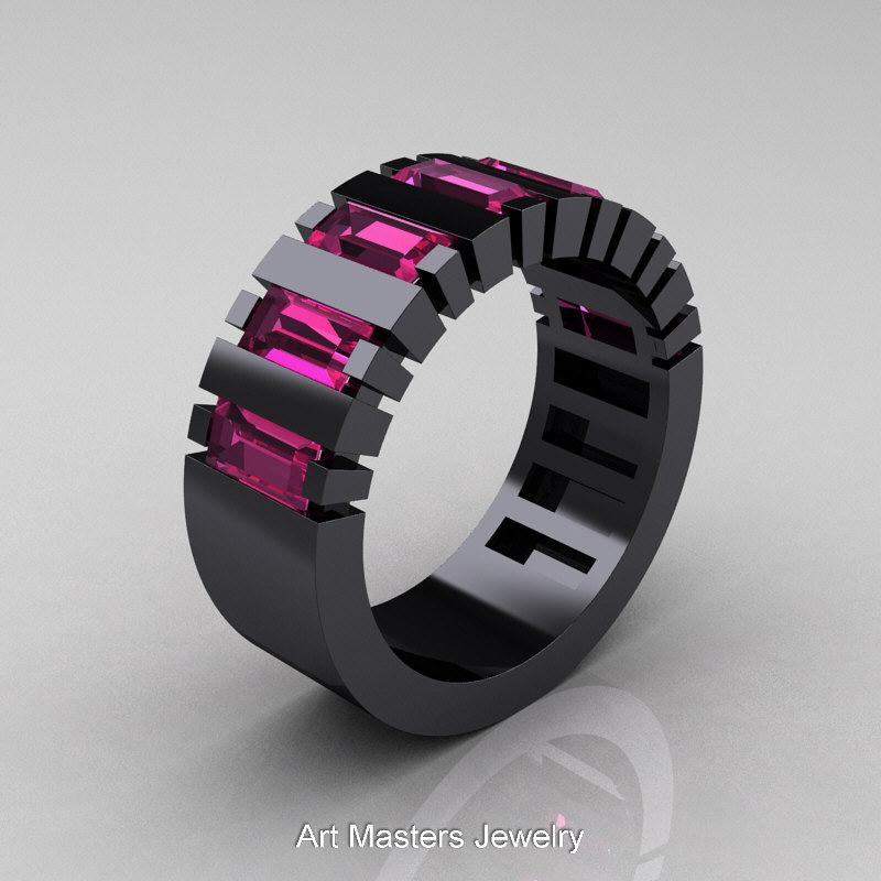Mens Modern 14k Black Gold Baguette Pink Shire Cer Tank Ring R395 14kbgps
