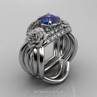 Nature Inspired 14K White Gold 1.0 Ct Alexandrite Diamond Rose Vine Engagement Ring Double Wedding Band Set R294S2-14KWGDAL