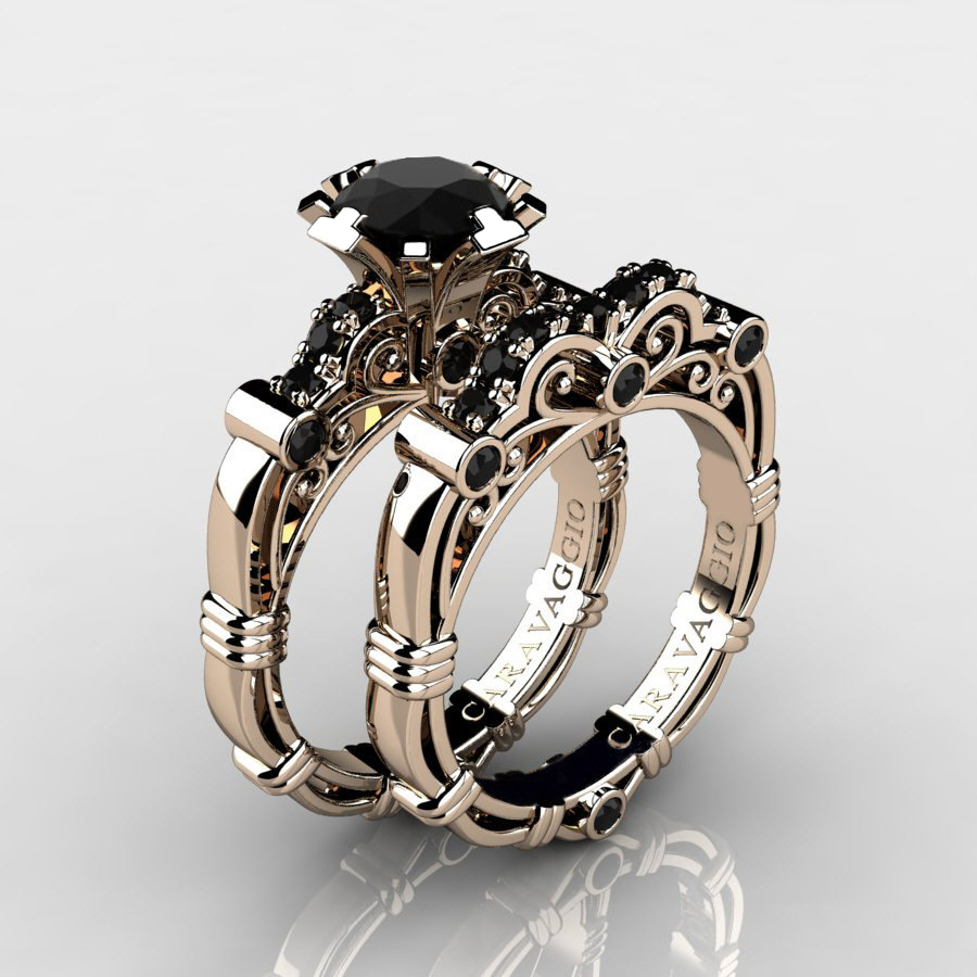 Art masters caravaggio 14k rose gold 10 ct black diamond for Black wedding rings with diamonds