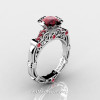 Art Masters Caravaggio 14K White Gold 1.0 Ct Rubies Engagement Ring R623-14KWGR