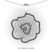 Classic 14K White Gold Black and White Diamond Rose Promise Pendant and Necklace Chain P101M-14KWGDBD