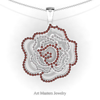 Classic 14K White Gold Brown and White Diamond Rose Promise Pendant and Necklace Chain P101M-14KWGDBRD