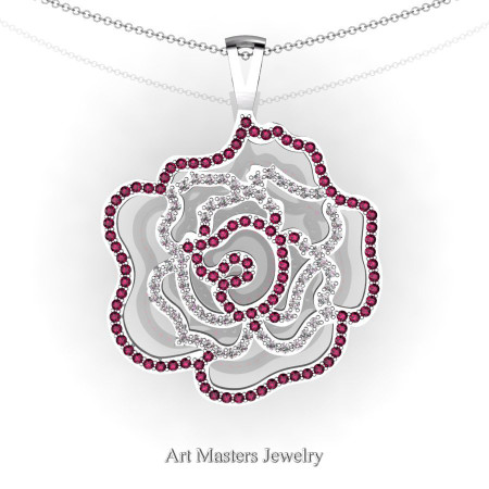 Classic 14K White Gold Garnet Diamond Rose Promise Pendant and Necklace Chain P101M-14KWGDG