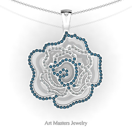 Classic 14K White Gold London Blue Sapphire Diamond Rose Promise Pendant and Necklace Chain P101M-14KWGDLBS