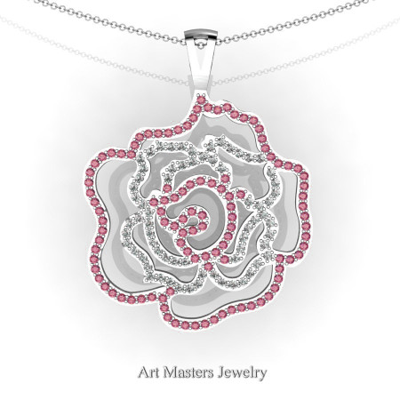 Classic 14K White Gold Tourmaline Diamond Rose Promise Pendant and Necklace Chain P101M-14KWGDTO