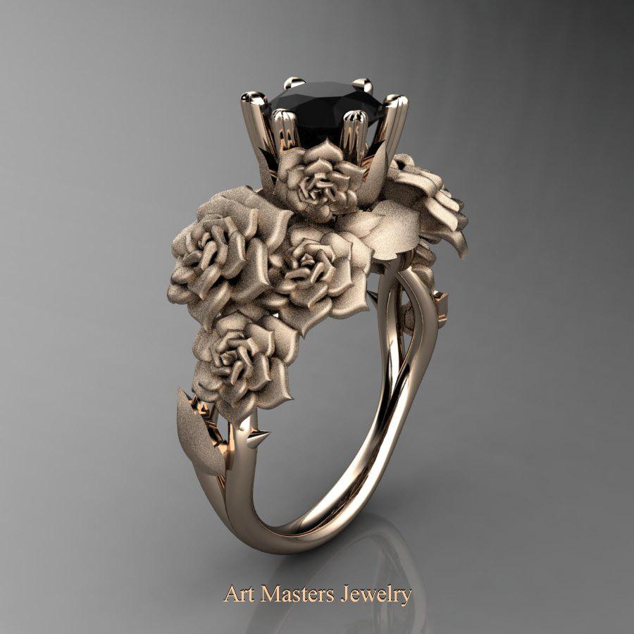 Nature Inspired 14k Rose Gold 10 Ct Black Diamond Rose Bouquet Leaf