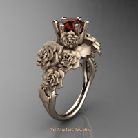Nature Inspired 14K Rose Gold 1.0 Ct Brown Diamond Rose Bouquet Leaf and Vine Engagement Ring R427-14KRGSBRD