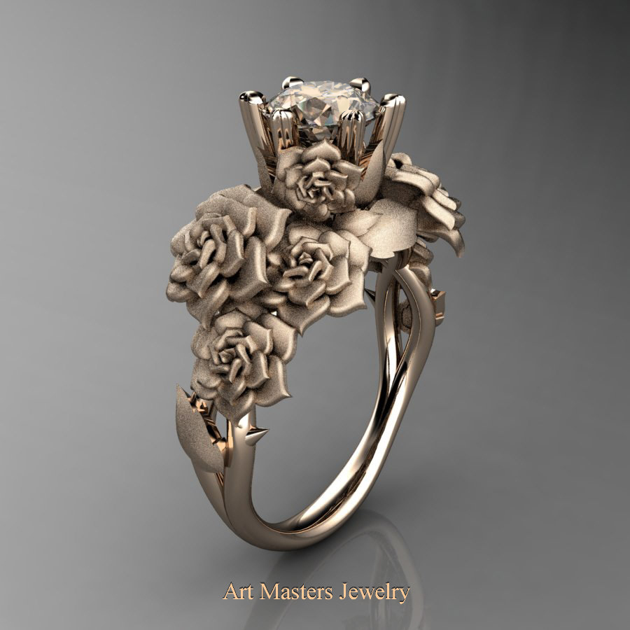 Nature Inspired 14k Rose Gold 1 0 Ct Champagne Diamond Bouquet Leaf And Vine Engagement Ring