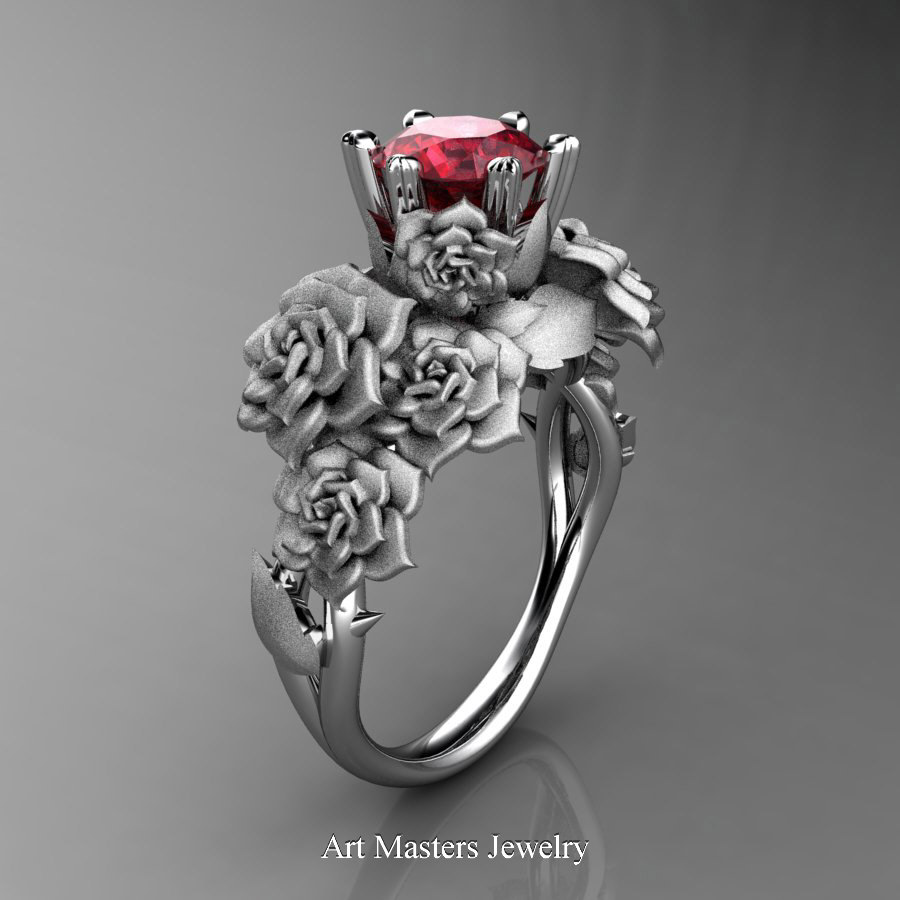 Nature Inspired 14k White Gold 1 0 Ct Ruby Rose Bouquet