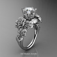 Nature Inspired 14K White Gold 1.0 Ct White Sapphire Rose Bouquet Leaf and Vine Engagement Ring R427-14KWGSWS