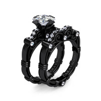 Art Masters Caravaggio 14K Black Gold 1.25 Ct Princess White Sapphire Diamond Engagement Ring Wedding Band Set R623PS-14KBGDWS