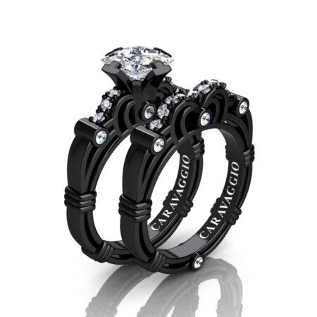 Art-Masters-Caravaggio-14K-Black-Gold-1-25-Carat-Princess-White-Sapphire-Diamond-Engagement-Ring-Wedding-Band-Set-R623PS-14KBGDWS-P
