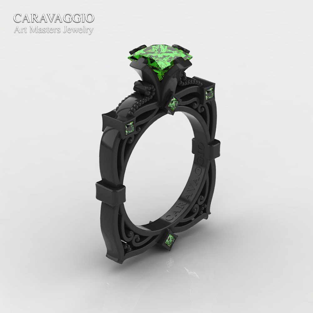 rings pave halo black green engagement ring certified vintage unique gold wedding style carat peridot