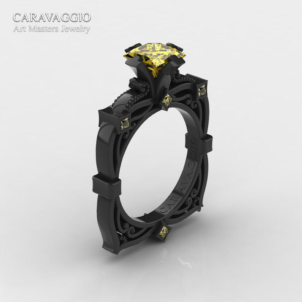 5b230bee9 Art Masters Caravaggio 14K Black Gold 1.5 Ct Princess Yellow Sapphire Engagement  Ring R630-14KBGYS