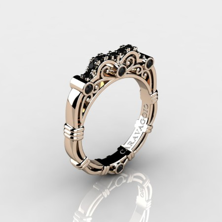 Art Masters Caravaggio 14K Rose Gold Black Diamond Wedding Band R623B-14KRGBD