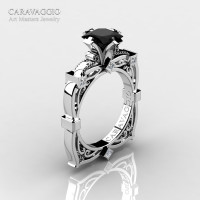 Art Masters Caravaggio 14K White Gold 1.5 Ct Princess Black and White Diamond Engagement Ring R630-14KWGDBD