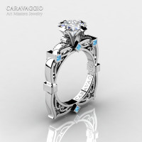 Art Masters Caravaggio 14K White Gold 1.5 Ct Princess White Sapphire Blue Topaz Engagement Ring R630-14KWGBTWS
