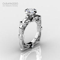 Art Masters Caravaggio 14K White Gold 1.5 Ct Princess White Sapphire Diamond Engagement Ring R630-14KWGDWS