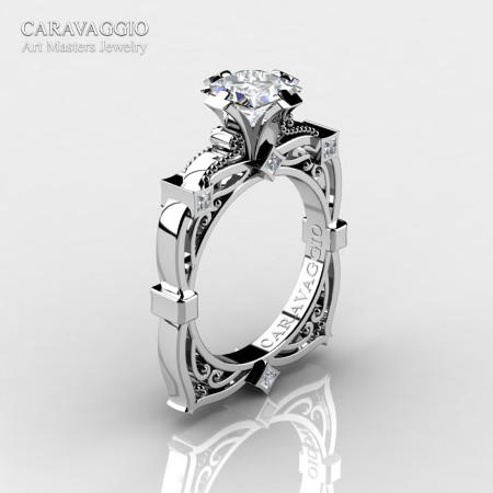 Art Masters Caravaggio 14K White Gold 1.5 Ct Princess White Sapphire Diamond Engagement Ring R630-14KWGDWS