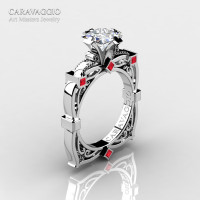 Art Masters Caravaggio 14K White Gold 1.5 Ct Princess White Sapphire Rubies Engagement Ring R630-14KWGRWS