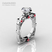 Art Masters Caravaggio 14K White Gold 1.5 Ct Princess White Sapphire Rubies Engagement Ring R630-14KWGRWS