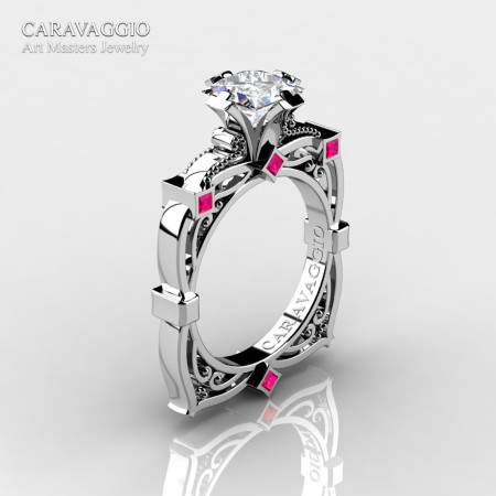 Art Masters Caravaggio 14K White Gold 1.5 Ct Princess White and Pink Sapphire Engagement Ring R630-14KWGPSWS