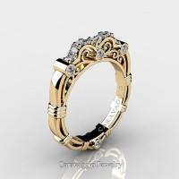 Art Masters Caravaggio 14K Yellow Gold Diamond Wedding Band R623B-14KYGD
