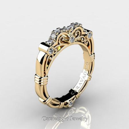 Art-Masters-Caravaggio-14K-Yellow-Gold-Diamond Wedding-Band R623B-14KYGD