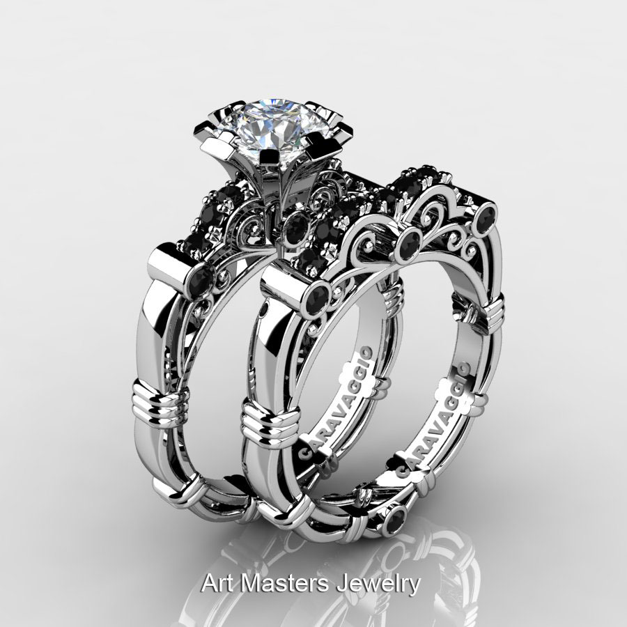 Art Masters Caravaggio 14K White Gold 1.0 Ct White Topaz Black Diamond  Engagement Ring Wedding Band