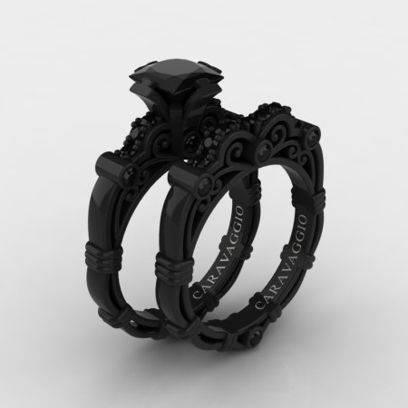 Art Masters Caravaggio 14K Black Gold 1.25 Ct Princess Black Diamond Engagement Ring Wedding Band Set R623PS-14KBGBD