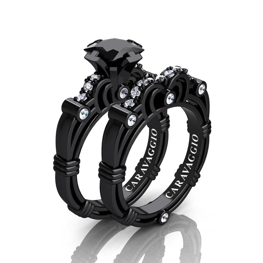 Art Masters Caravaggio 14k Black Gold 1 25 Ct Princess And White Diamond Engagement Ring Wedding